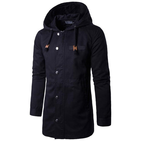 Men's Clothing New Mens Trench Coats Classic Mans Hooded Cargo Coats Men M-4XL Windbreaker Homme Spring Overcoats Man