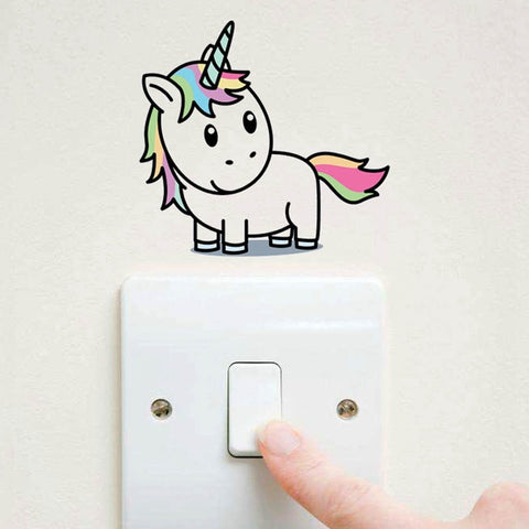 Cartoon  Unicorn Light Switch Color Wall Stickers For Kids Rooms Bedroom Removable Switch Wall Art Decals Home Decor