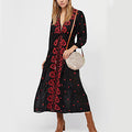 Cotton Summer Dress Long Sleeve Floral Embroidery Bohemian Dresses For Women Ethnic Hippie Chic Style Beach Clothing