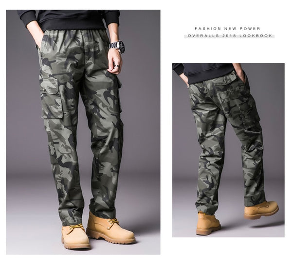 Mens Cargo Pants with Many Pockets Military Streetwear Camo Pants Big Size Camouflage Pants Men Hip Hop Long Trousers Joggers