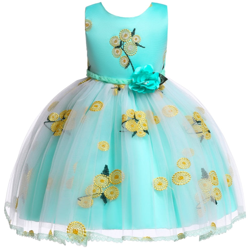 Girls Tulle Flower Princess Tutu Dress Baby Bridesmaid Flower Girl Wedding Dress Ball Gown Kids Prom Party Dresses vestidos