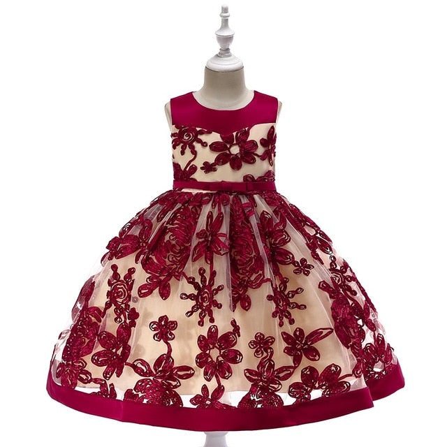 Baby Girl Elegant Pageant Party Dress Kids Girl Christmas Wedding Dress Embroidery Flower Girl Dress L5052