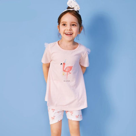Toddler Girl 100% Cotton Flamingo Snug Fit Set Children Kids Girls Pajamas Set Sleepwear Underwear with Lace