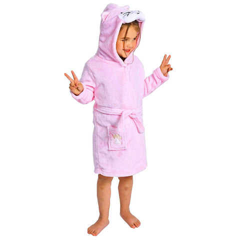 Little Girl's Flannel Bathrobe ,Pink Cat,100: 3T