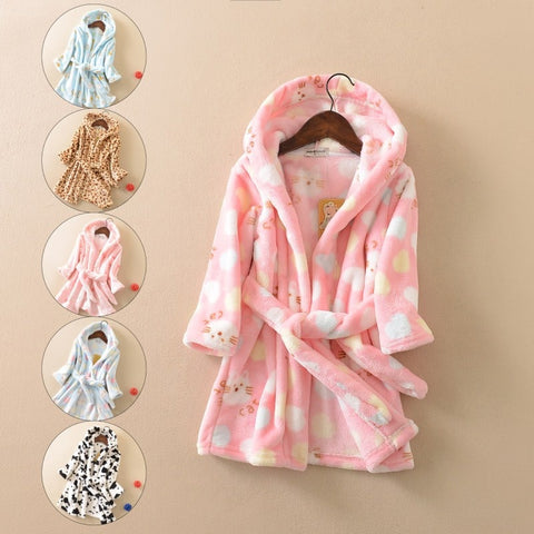 Children Girls Bathrobes Autumn Winter Thicken Warm Pajamas Kids Hooded Dressing Grown Cartoon Flannel Sleepwear for 1-10Y