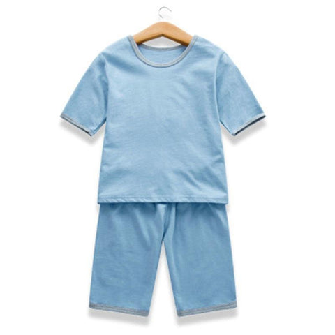 Summer Baby Sleepwears Short Sleeve Pajamas Children Cotton Casual Pyjamas Girls Boys Soft Home Nightwear Sets New Arrival D0002
