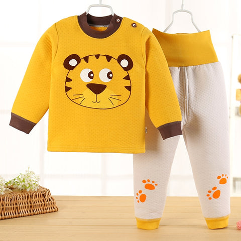 Animals Winter Children Girls Boys Warm Sleepwear Kids Cotton Pajamas Set Thick Shirts+Pants 2pcs  Baby  Clothing Sets