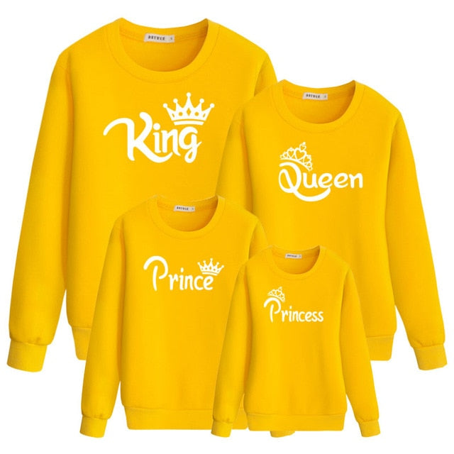 mommy and me matching family outfit mother daughter daddy son baby Girls Sweatshirt Printing King Queen autumn Clothes clothing