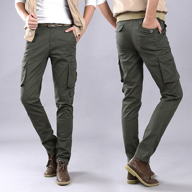Spring Autumn Pants High Quality Men's Cargo Pants Casual Mens Pant Multi Pocket Military Overall Men Outdoors Long Trousers