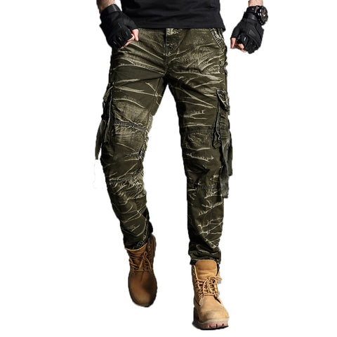Camouflage Cargo Pants Mens Cotton Military Multi-pockets Baggy Men Pants Casual Trousers Overalls Army Pants Joggers 40