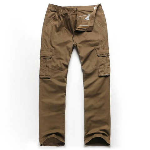 82 plus size cargo pants plus size male 100% cotton european version of the loose multi-pocket overalls trousers