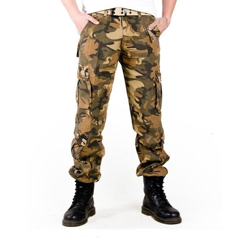 taille 40 cd1f3 577bb Military cargo pants men pantalon homme Camouflage army trousers multi  pocket camo tactical pants Without Belt