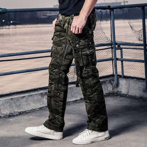 Men's Cargo Pants New European And American Men's Overalls Camouflage Pants Loose Zipper Open Middle Waist Sports Trousers