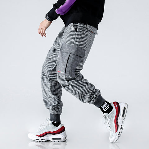 Men High Street Fashion Stripe Loose Casual Cargo Pant Streetwear Hip Hop Harem Trousers Male Joggers Sweatpants