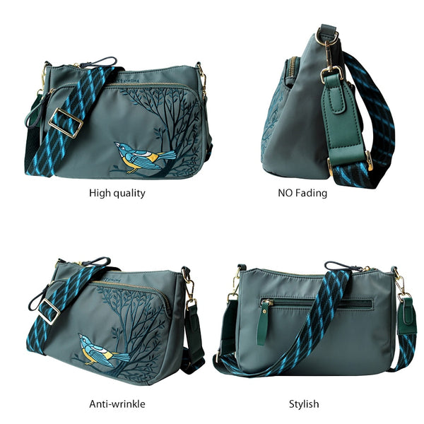 Flower Princess Original Embroidery Women Crossbody Bag Wide Strap Female Shoulder Bags Spring Summer Nylon Lady Bags