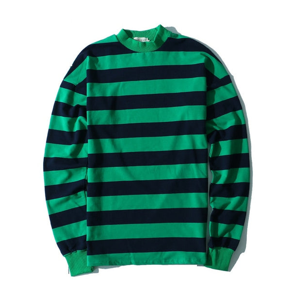 High Street Stripe Sweatshirt Europe and The United States Men Oversized Drop Shoulders Spell Color Round Neck Pullovers