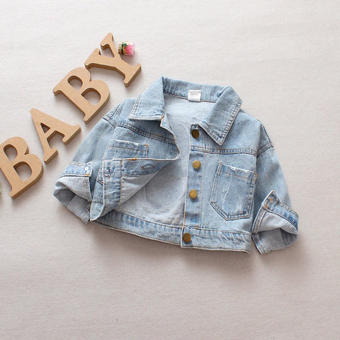 Spring Autumn Baby Girls Denim Jeans Jacket Cartoon Long Sleeve Lapel Collar Casual Children Kids Outerwear Coat casaco