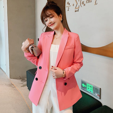 Blazer Women Double Breasted Casual Work Suit Long Sleeve Jacket 2019 Fashion Female Blazers Solid Color Loose Coat XXL