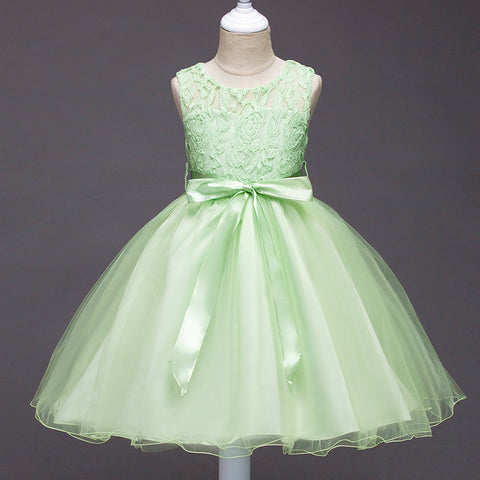 22284c4f40e6 Lace Tulle Girl Party Dress For 6 8 10 Yrs Sleeveless Green Pageant Wedding  Bridesmaid Children