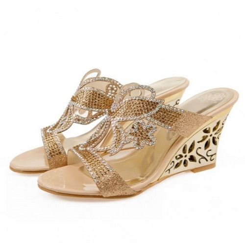 Big size 32-43 Women Rhinestone Sandals crystals Cutout Wedge High Heel Shoes Open Toe Platform Summer Flip Flops 2019