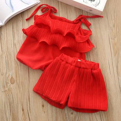 Girls Clothes Sets Summer Tracksuit For Girl Baby Fashion Chiffon Clothing Set Kids Vest Shorts Suit Strap Cute Top 2 piece 3yrs
