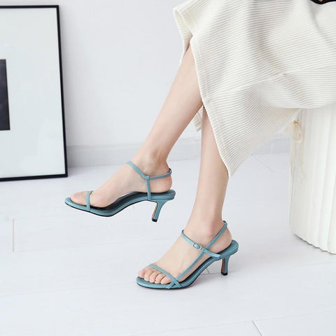 Light Blue Orange Black Narrow One Buckle Women Sandals Peep Toe Front Back Strap Gladiators High Heels Shoes Woman Summer Brand