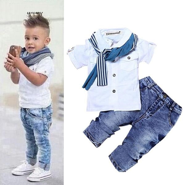 Toddler Boy Clothes Summer Children Clothing Boys Sets Costume For Kids Clothes Sets T shirt+Jeans Sport Suits 2 3 4 5 6 7 Years