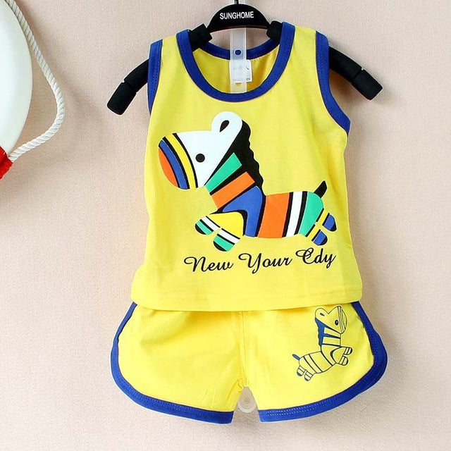 8ee015efe Summer Baby Clothing Set Cotton Vest & Shorts Newborn Baby Boy Clothing  Sets 0-2 Year Baby Suit Baby Boys Clothes