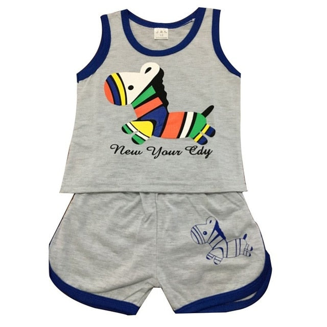 Summer Baby Clothing Set Cotton Vest & Shorts Newborn Baby Boy Clothing Sets 0-2 Year Baby Suit Baby Boys Clothes