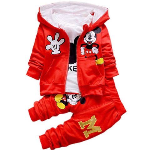 sports suit for Chidren Kids Boys Clothing Set Autumn Winter 3 Piece Sets Hooded Coat Suits Fall Cotton Baby Boys Clothes Mickey