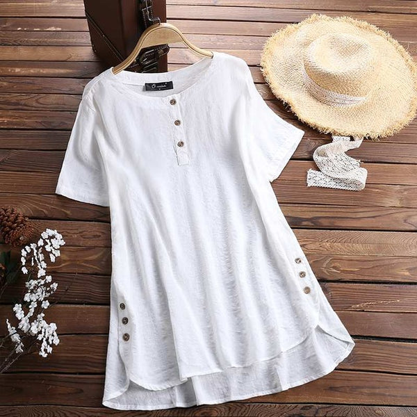 Summer Tunic Tops Stylish Women Baggy Blouses Female Button Down Shirts Check Chemise Femme Asymmetrical Blusas