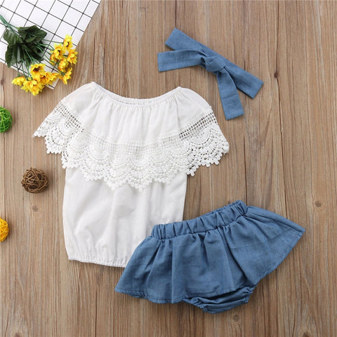 Short Sleeve Summer White Tops Denim Shorts Headband 3Pcs Outfit Girls Clothing Newborn Baby Girl Clothes Set Lace Ruffled