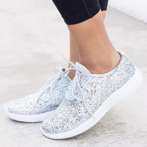 Women Shoes Bling Womens Vulcanize Shoes Plus Size 43 Basket Sneakers Women  New Krasovki White Sliver Women Casual Shoes