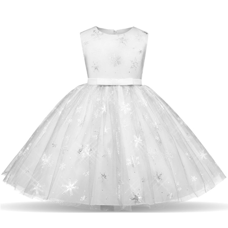 Fancy Princess Kids Dresses For Girls Wedding Party Children Kids Party Birthday Dress Girl Snowflake Costume Vestido Infantil