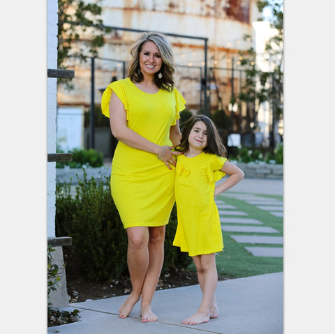 60e89e17b07d New Spring Summer Dresses Solid Color Yellow dresses ruffle sleeve for  Mother and Daughter Dress Family