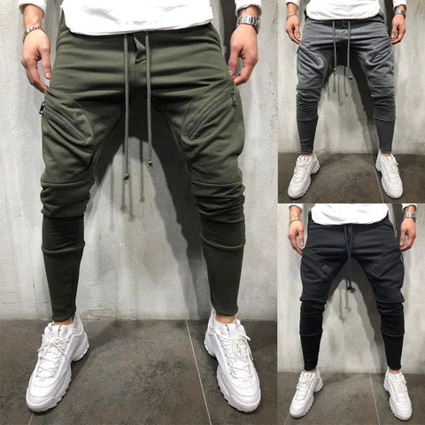 New multi-pocket small foot men's tethered casual sports pants to wear sweatpants