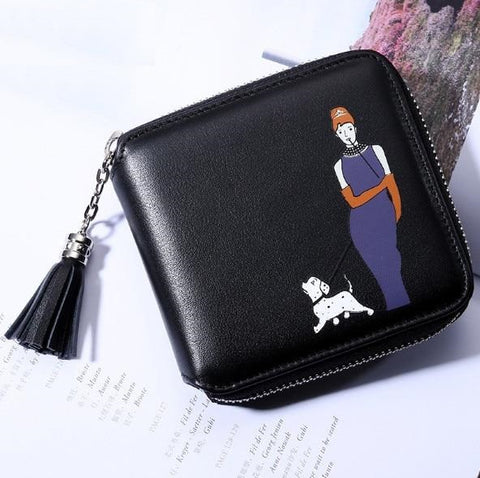 Goddess Walk Dog Fashion Genuine Leather Women Wallet Bifold ID Card Holder Coin Purse With Zipper Small Women's Purse
