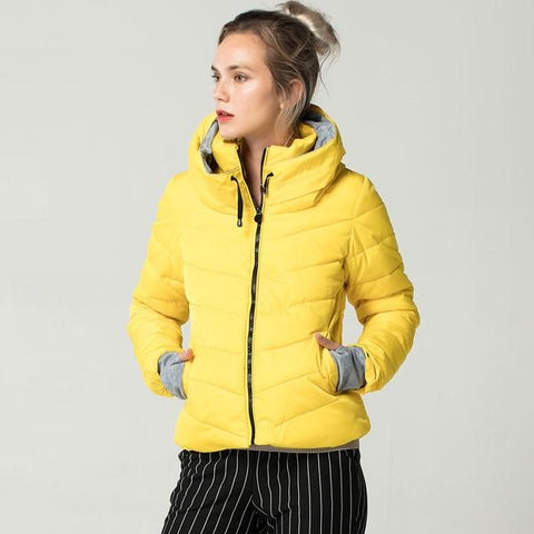 Hooded Yellow Women Autumn Winter Jacket Stand Collar Cotton Padded Female Basic Jacket Outerwear Coat chaqueta mujer FICUSRONG