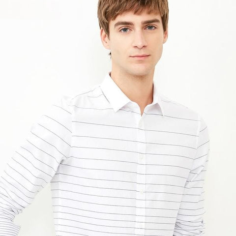 Men's 100% Cotton Striped Slim Fit Long-sleeved Shirt S|418105539