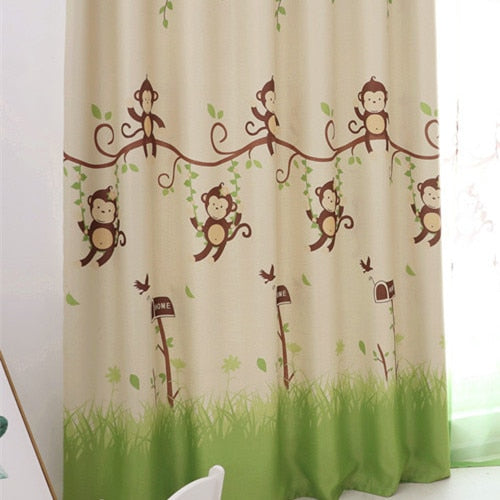 Blackout Curtains Cartoon Monkey Kid Bedroom Window Sheer Tulle Curtains  Panel Modern Drapes for Children Bedroom