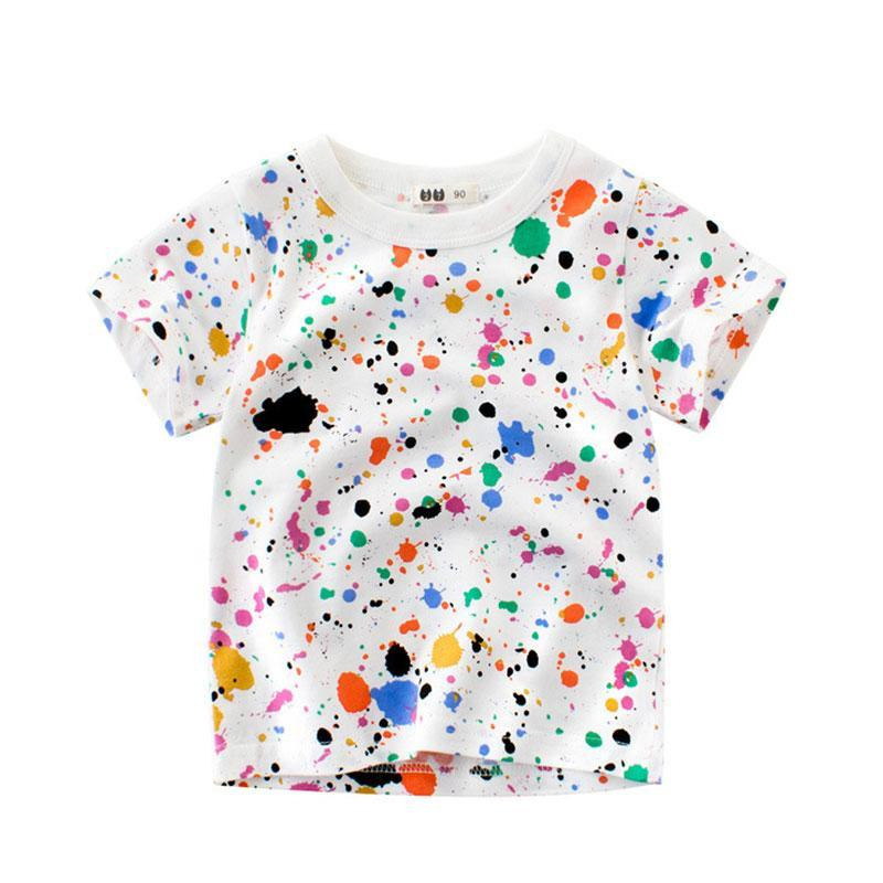 Splashing Ink Baby Boys T Shirt For Summer Infant Kids Boys Girls T-Shirts Clothes 100% Cotton Toddler Tops camisetas DX-CZX201