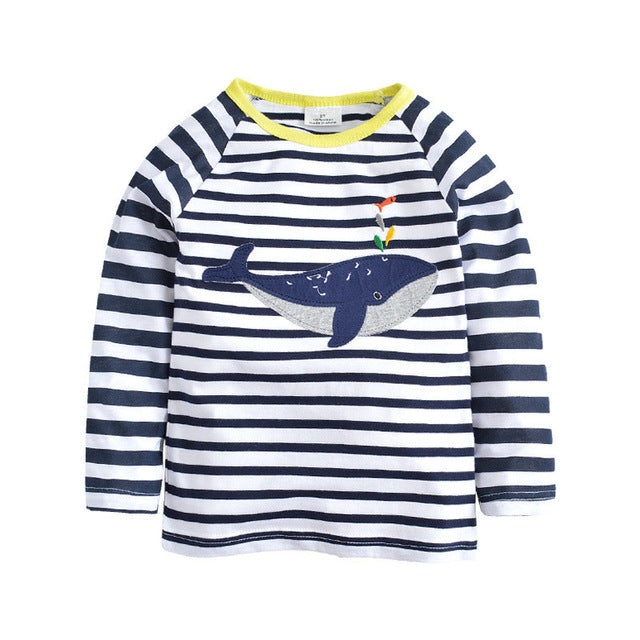 Jumping meters Applique animals Baby boys T shirts stripe Kids Fashion cotton children t shirts for boys top long sleeve t shirt