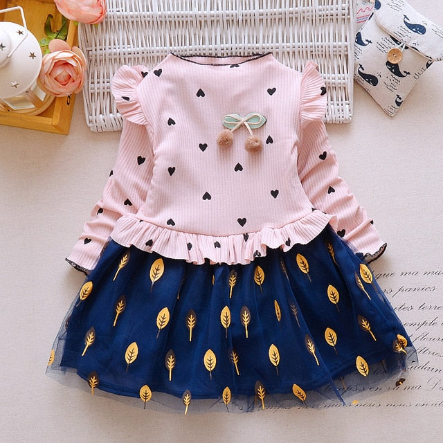Fashion girls dress children spring autumn princess vestidos lace party dresses girl wedding dress baby girl dress