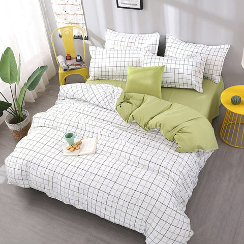 Plaid Bedding Sets Queen King Double twin full king Size Bedlinen Polyester new Duvet Cover Set beautiful bed sheet girl gift 25