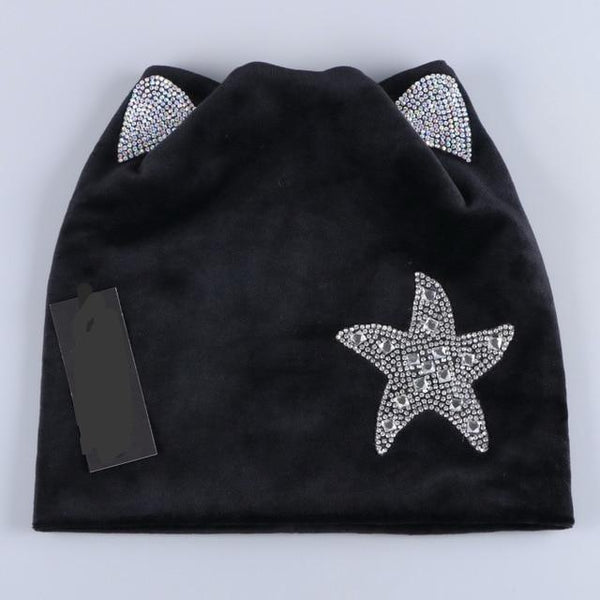 New Design Beanies Skullies Women And Girl Cute Autumn Winter Hat Cap With DMC AAAA Shiny Star Shape Rhinestone