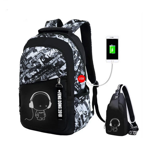 Boys school bags waterproof large backpack for teenagers bagpack high school backpack for boy student chest bag set