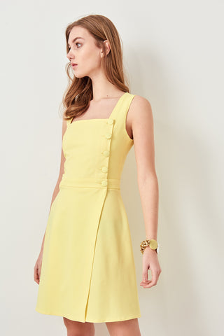 Yellow Button Detail Dress Karelin TWOSS19AA0042