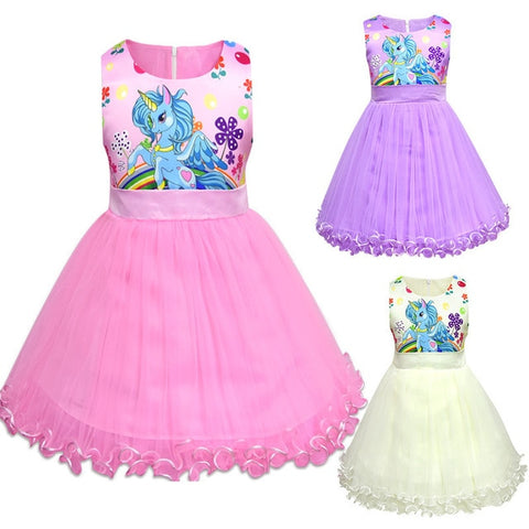 Summer Girls princess dress Little Pony Princess Dress Children Party Birthday Dresses Kids clothing Baby Unicorn Clothes
