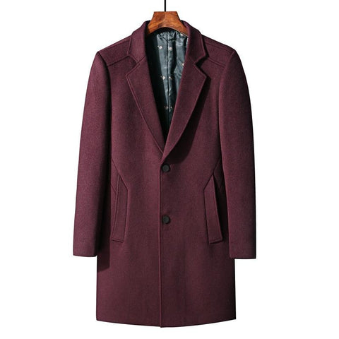 Winter New Men Thick Wool Coat Business Fashion Casual Long Warm Overcoat Jacket Male Brand Clothes Gray Red Wine Navy