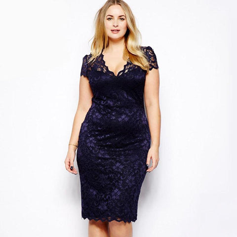 3XL 4XL Plus Size Pencil Dress Women Floral Lace Dress clubwear Midi Dress V-Neck Elegant Ladies Bodycon Party Dresses female